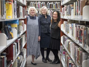 Anne Campbell, from left, Susan Birley, and Jeannie Mah are editors of the book Biblio Files: A History of the Regina Public Library.