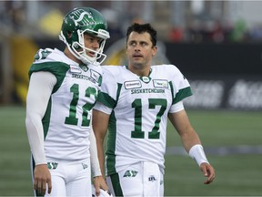 CP-Web. Saskatchewan Roughriders quarterback Zach Collaros looks toward Hamilton Tiger-Cats players as he leaves the field with an injury following a late hit during first half CFL football game action in Hamilton, Ont. on Thursday, June 13, 2019.