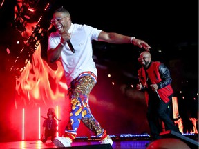 Nelly and Jermaine Dupri pictured performing on July 7, 2019 in New Orleans. Nelly is scheduled to perform at the Queen City Ex on Aug. 2, 2019, in Regina.