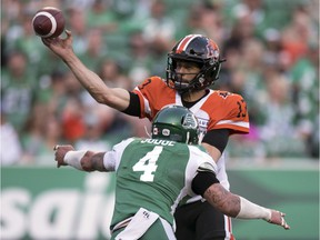 Saskatchewan Roughriders linebacker Cameron Judge (4) shown pressuring B.C. Lions quarterback Mike Reilly on July 24, is expected to be on the active roster on Friday after missing a game with a concussion.