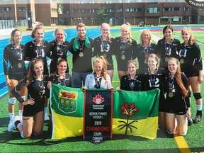 Saskatchewan's under-18 female volleyball team is shown after winning a gold medal at the Volleyball Canada Cup on July 21, 2019 in Halifax.