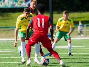 Saskatoon Selects players match up against the Toronto FC2 squad in a friendly match in Saskatoon on Sunday, August 11, 2019.