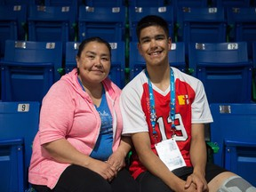 Martha Porter of Yellowknife is shown with her son Thomas, who is playing volleyball for Team Nunavut at the Western Canada Summer Games in Swift Current.
