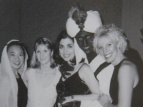 "A photo posted online by Time of Justin Trudeau with dark makeup on his face at a 2001 ""Arabian Nights party at West Point Grey Academy."