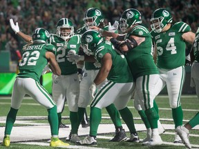 The Saskatchewan Roughriders celebrate one of their 43 offensive touchdowns this season. Last year, Saskatchewan scored a league-low 25 offensive TDs.