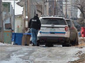 Police are pictured near the 1900 block of Montreal Street on Feb. 27, 2020.