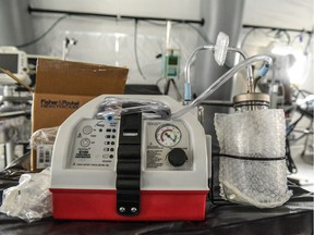 A ventilator and other hospital equipment is seen in an emergency field hospital to aid in the COVID-19 pandemic in Central Park on March 30, 2020 in New York City.