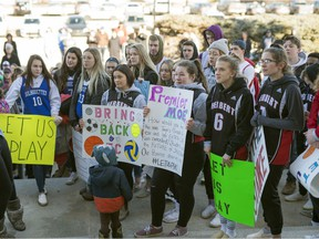 High school students from southern Saskatchewan attend a rally at the Legislative Building in Regina on Wednesday, March 11, 2020.