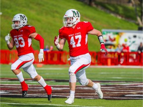 Lumsden's Geordie MacDougall (47) covers on special teams while with the Minot State Beavers during the 2019 NCAA season.