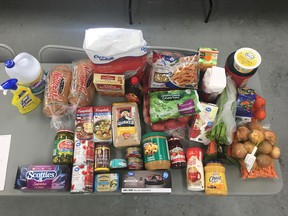Items from a recent grocery shopping trip Ramona Knebush did for elders at Pheasant Rump Nakota First Nation. (Photo courtesy Ramona Knebush)