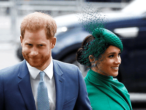 Prince Harry and Meghan, Duchess of Sussex, arrive for the annual Commonwealth Service at Westminster Abbey in London, England, on March 9, 2020.