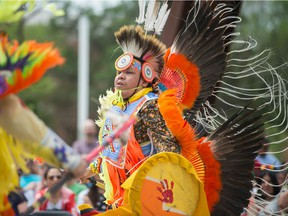 Teddy Bison dances in City Square Plaza during a National Indigenous Peoples Day event in June 2018.