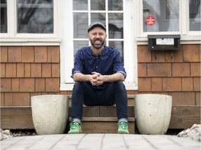 Singer-songwriter Jeffery Straker poses for a photo in front of his house in Regina on Friday, April 17, 2020.