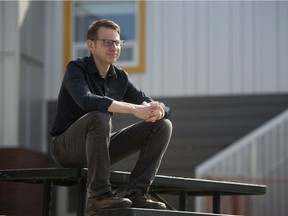 Mystery author and teacher David Gane is pictured outside his home in Regina on Friday, May 15, 2020.