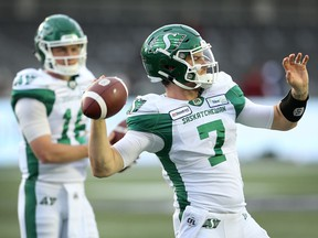 Saskatchewan Roughriders quarterbacks Isaac Harker, left, and Cody Fajardo have teamed up for a new podcast.