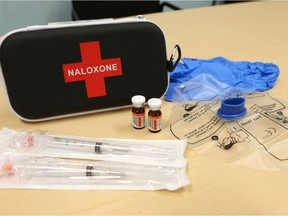 A naloxone kit usually contains two or three vials of the injectable drug, plus syringes, alcohol swags and a mask so responders can give CPR.
