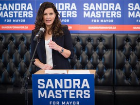 Sandra Masters announces her candidacy for mayor in the upcoming municipal election during an event held at the Cathedral Social Hall in Regina, Saskatchewan on Sept. 16, 2020.