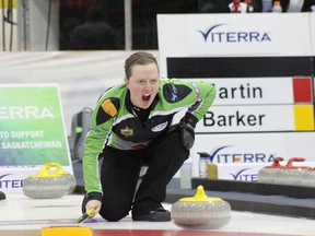 Ashley Howard, shown here at the 2018 Saskatchewan women's curling championship, is calling the shots through the COVID-19 pandemic as the executive director of CurlSask.