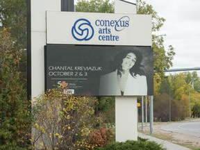 A sign advertising an upcoming concert at the Conexus Arts Centre appears on an electric sign outside the centre in Regina, Saskatchewan on Oct. 1, 2020.