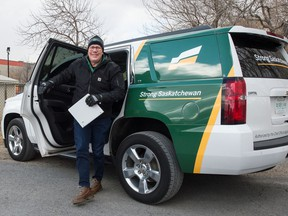 """Saskatchewan Party leader and current Saskatchewan premier Scott Moe arrives at a vehicle rally his party called """"The Big Honkin' Rally for a Strong Saskatchewan"""" held at the Turvey Centre in Regina, Saskatchewan on Oct. 22, 2020."""
