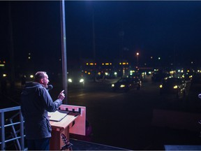 Saskatchewan New Democratic Party leader Ryan Meili speaks at an NDP rally and outdoor concert at Evraz Place in Regina.