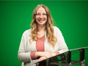 Tourism Regina's Ashley Stone stands in front of a green screen at an IKS Media studio on Turvey Road in Regina, Saskatchewan on Nov 18, 2020. It is at that venue where Stone will be involved in producing Collaborate and Connect, a virtual conference for the tourism industry.