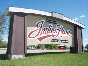 A sign welcomes visitors to Indian Head, Saskatchewan on May 29, 2020.