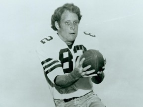 Rhett Dawson, a member of the Saskatchewan Roughriders' Plaza of Honour, is shown wearing No. 82 at Florida State University. He caught three touchdown passes for Florida State in the 1971 Fiesta Bowl. Photo courtesy Florida State University sports information.