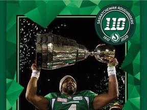 One of the Saskatchewan Roughriders' 2020 Mr. Lube Decades of Pride Collector Cards, showing quarterback Darian Durant after the 2013 Grey Cup game. The new cards are commemorating the franchise's 110th anniversary.