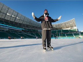 Regina Leader-Post sports editor Rob Vanstone savoured his skate at Mosaic Stadium, where the field has been flooded to create Iceville.