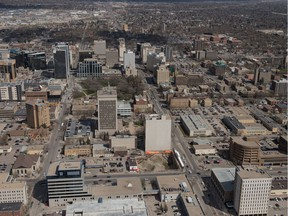 An aerial photo shows the downtown in Regina, Saskatchewan on May 9, 2019.