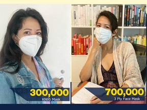 Bianca Amor, who opened her first Liquidation Supercentre in Calgary when she was just 13 years old, says her business is donating 1,000,000 masks, 70,000 face shields, 50,000 disposable aprons and 30,000 eight-ounce bottles of hand sanitizer.   SUPPLIED