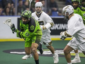 Saskatchewan Rush defender Jeff Cornwall moves the ball against the Vancouver Warriors during the team's final game before the 2019-20 season was cancelled.