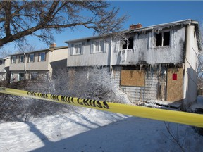 Fire damage can be seen on a home on the 400 block of Royal Street in Regina, Saskatchewan on Feb. 11, 2021.