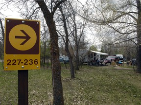 A sign indicates the locations of campsites in Echo Valley Provincial Park, Sask.