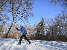 Bruce Hanson skies a trail near the Science Centre on Jan. 25, 2021. With residents looking to get outdoors amid the pandemic, more people than ever are taking up the winter sport.