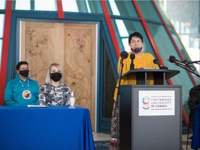 Donna Anderson Blind speaks during a news conference held at First Nations University in Regina.