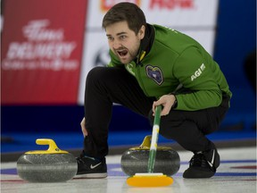 Calgary Ab, March 6, 2021.WinSport Arena at Canada Olympic Park.Tim Hortons Brier. Team Saskatchewan skip Matt Dunstone shouts to his front end during their draw 3 against Ontario. Curling Canada/ Michael Burns Photo