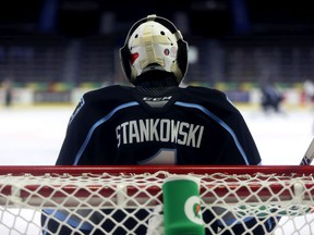 Carl Stankowski ended a 17-month hiatus from the WHL by starting in goal for the Winnipeg Ice on March 13 at the Brandt Centre — the league's East Division hub.