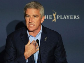 Jay Monahan, PGA Tour Commissioner, addresses the media regarding the cancellation of The PLAYERS Championship and three consecutive events due to the COVID-19 pandemic as seen at TPC Sawgrass on March 13, 2020 in Ponte Vedra Beach, Florida.