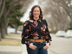 Nathalie Reid, director of the Child Trauma Research Centre at the U of R, stands near her home home in Regina, Saskatchewan on April 22, 2021.