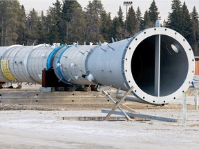 A cyclindrical component sits on blocks at the site where a canceled BA Energy upgrader would have been located, west of Bruderheim, Alberta on Jan. 11, 2012.