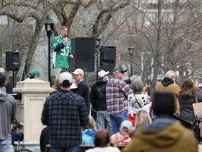 A small gathering of people breaking the current health order gathered in Victoria Park in Regina on Saturday, May 8, 2021. Maxime Bernier, former Harper cabinet minister and current leader of the People's Party of Canada, wore a Roughriders jersey as he spoke at the event.