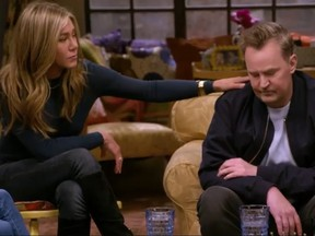 Jennifer Aniston and Matthew Perry in a scene from Friends: The Reunion.