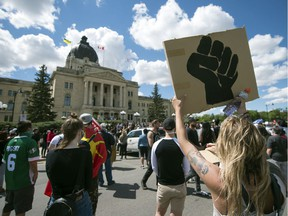 Hundreds attended an  emergency solidarity rally at the Legislative Building related to the Black Lives Matter protests going on south of the border in Regina on Tuesday, June 2, 2020.