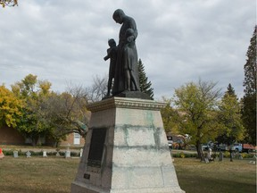 A statue of Father Joseph Hugonard, who was the first principal of the Lebret Indian Industria Residential School in Lebret, Saskatchewan. The statue sat on the school grounds until it was moved to the Sacred Heart Catholic cemetery.