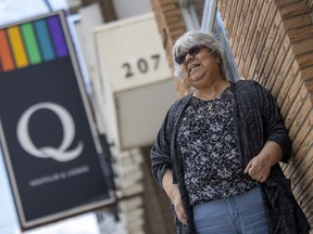 REGINA, SASK :  June 10, 2021 --   Mirtha Rivera stands out front of Q Nightclub and Lounge in Regina, the only LGBTQ community-owned club in Canada.  TROY FLEECE / Regina Leader-Post