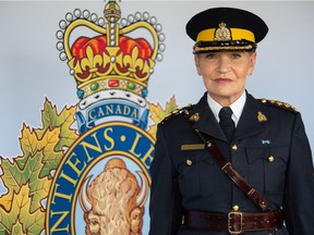The new commanding officer of RCMP Depot Division, Chief Superintendent Sylvie Bourassa-Muise, stands for a photo near the Fort Dufferin guard room on RCMP property in Regina, Saskatchewan on June 11, 2021.