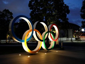 The Olympic Rings monument is seen outside the Japan Olympic Committee (JOC) headquarters near the National Stadium, the main stadium for the 2020 Tokyo Olympic Games, in Tokyo, Japan on June 23, 2021.