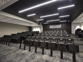 The Saskatchewan Roughriders will have to practise social distancing in their expansive main meeting room at Mosaic Stadium.